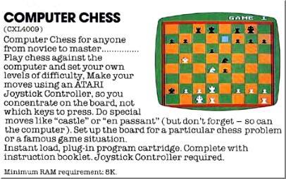 """Computer chess"""" advert taken from an atari catalog"""