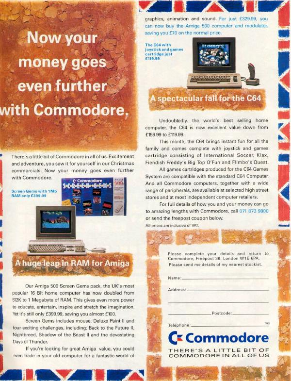 British Sales Advertisement for the Commodore 64C and Commodore Amiga 500